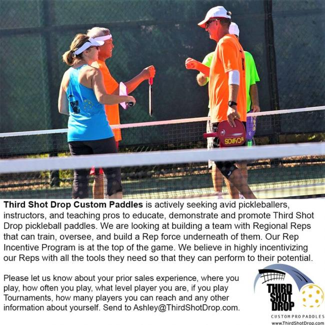 Third Shot Drop is actively seeking avid pickleballers, instructors, and teaching pros to educate, demonstrate and promote Third Shot Drop pickleball paddles.