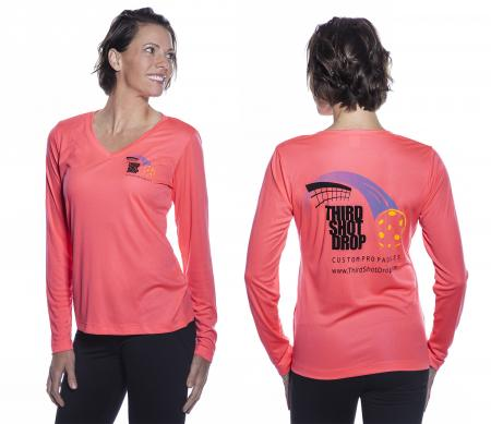 Women's Dri Fit Long Sleeve V-Neck Shirts