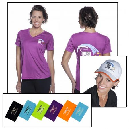 Women's shirt, hat, wristbands