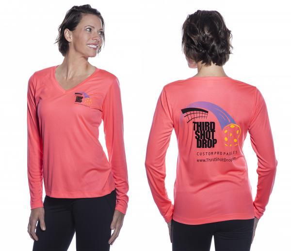 Women's Dri Fit Long Sleeve V-Neck Shirts